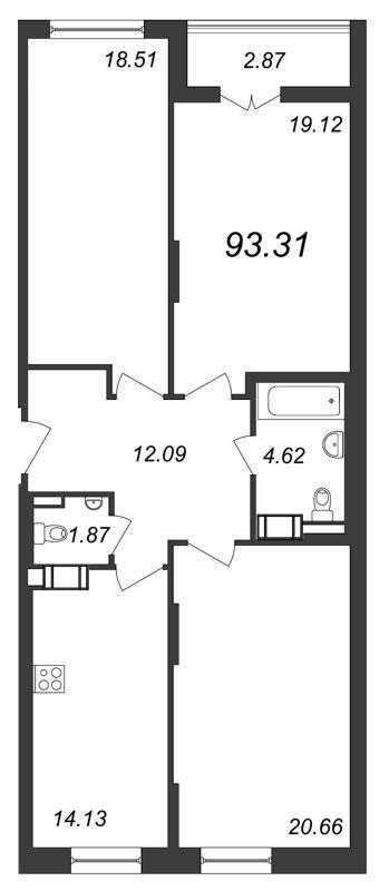 Планировка Трёхкомнатная квартира площадью 93.31 кв.м в ЖК «Галактика»