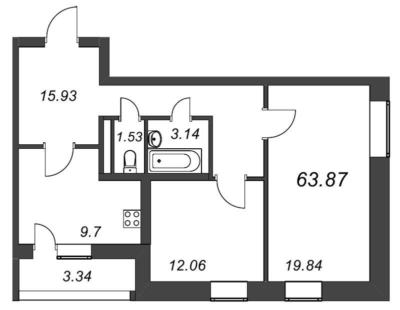 Планировка Двухкомнатная квартира площадью 63.87 кв.м в ЖК «Галактика»