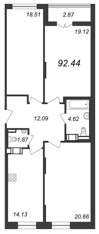 Планировка Трёхкомнатная квартира площадью 92.44 кв.м в ЖК «Галактика»