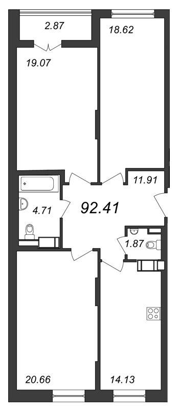 Планировка Трёхкомнатная квартира площадью 92.41 кв.м в ЖК «Галактика»
