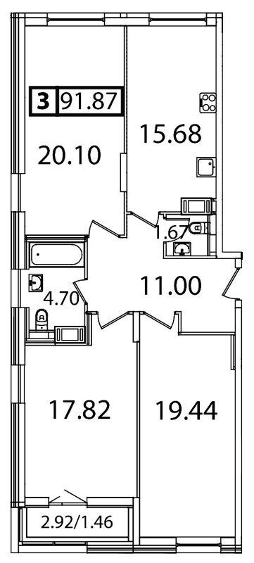 Планировка Трёхкомнатная квартира площадью 91.87 кв.м в ЖК «Галактика»
