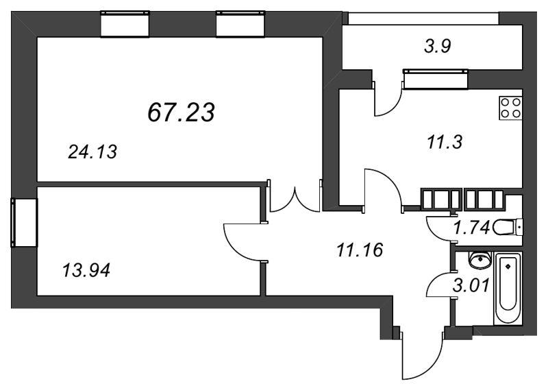 Планировка Двухкомнатная квартира площадью 67.23 кв.м в ЖК «Галактика»
